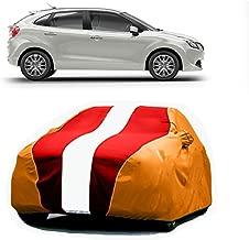 Bull Rider Car Body Cover for Maruti Suzuki Baleno (with Mirror Pockets- Red&Orange)