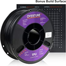 Overture TPU Filament 1.75mm Flexible TPU Roll with 200 x 200 mm 3D Printer Consumables, 1kg Spool (2.2 lbs.), Dimensional Accuracy +/- 0.05 mm, 1 Pack, Black