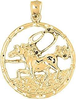 18K Chinese Zodiacs - Horse Pendant | 18K Yellow Gold Chinese Zodiacs - Horse Pendant, Made in USA