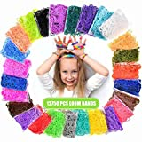 Loom Rubber Bands, 12750pcs Rainbow Rubber Band Refill Kit in 26 Colors with 500 Clips 6 Hooks, Rainbow Rubber Bands DIY Refill (12750 pcs)