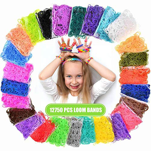 Loom Rubber Bands, 12750pcs Rubber Band Refill Kit in 26 Colors with 500 Clips 6 Hooks, Rubber Bands DIY Refill (12750 pcs)