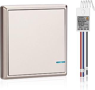 WSDCAM Wireless Wall Switch IP66 Waterproof, 1900 ft Wireless RF Range, Remote Switch Control Lighting Fixture, Ceiling Li...