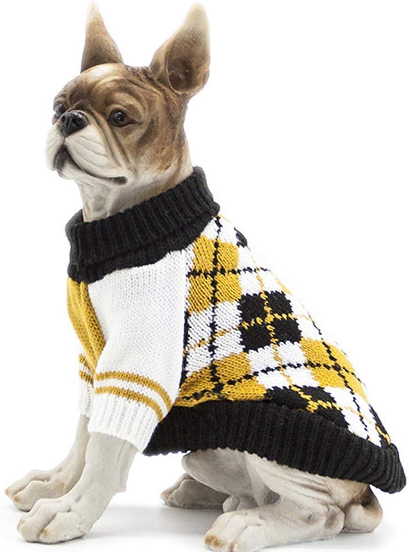 LLYU Pet cat Dog Sweater Plaid Winter Knit Warm Clothing (Size   XL)