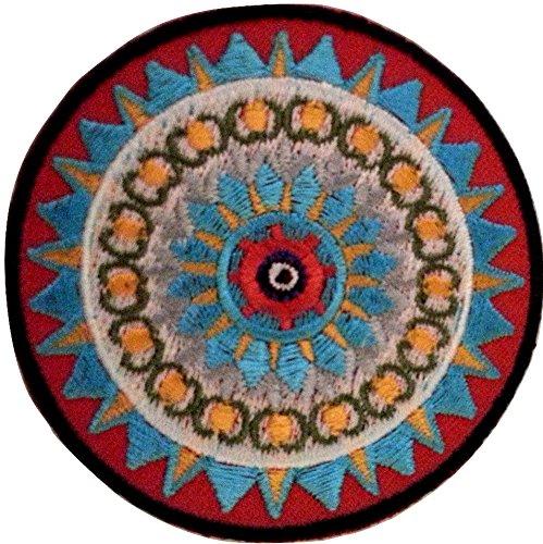 b2see Mantra Aufnäher Iron on Patches für Jacken Jeans Kleidung Aufbügler Applikation Stickerei Mantra Ying Yang 6,5 cm