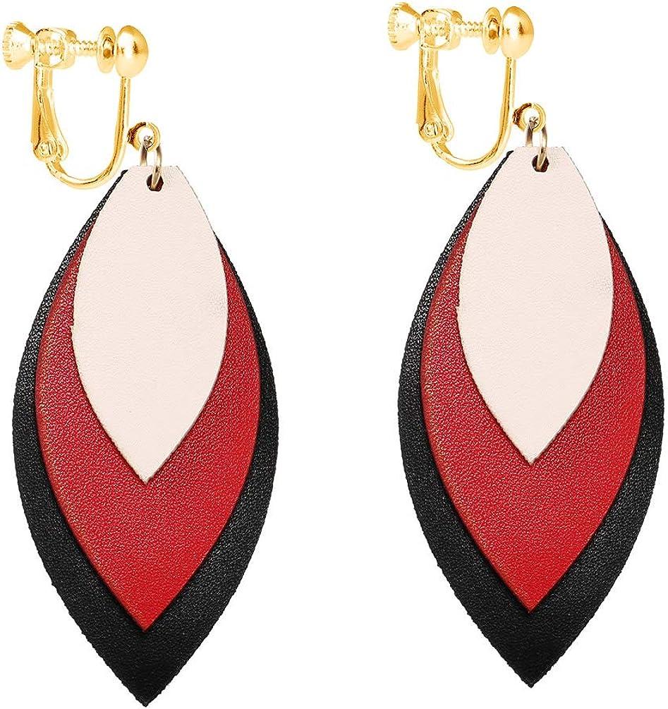 Dangle Leather Clip on Earrings Layered Leaf Faux PU Lightweight Fashion Teardrop Drop for Women