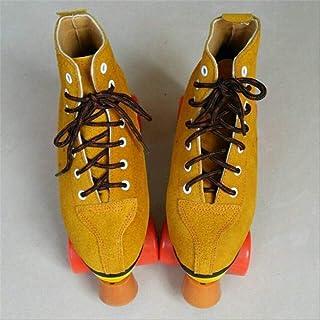 ZLSANVD Roller Skates Adult Roller Skate Shoes Breathable Leather Boot Lace Advanced Beginner Skater Durable PU Wheel Brak...