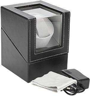 Salmue - Scatola portaorologi, per ricarica orologi a movimento meccanico automatico, in PU, rotante, per esposizione
