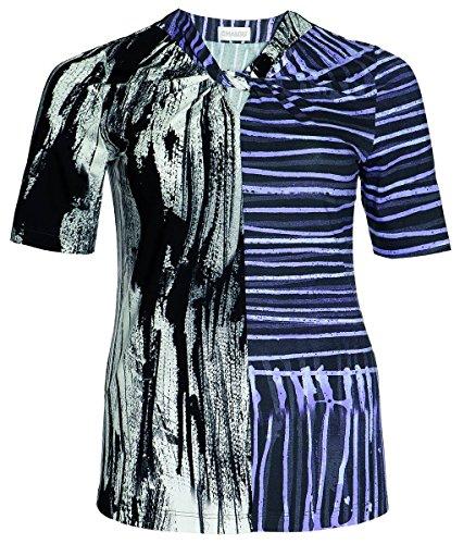 Chalou Mode Damen Kurzarm T-Shirt in Flieder Lila Kurzarm Sommer Tunika, Größe:60