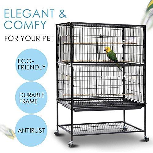 Popamazing 2Etagen großer Vogel-Zucht-Käfig/Voliere auf Rädern für Kakadus/Papageien/Finken mit Holz-Sitzstange und herausnehmbarem Boden