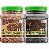 Glamorous Hub Bliss Of Earth 2X600Gm Usda Paquete combinado de semillas de lino de semillas de chía crudas orgánicas para bajar de peso, súper alimentos crudos
