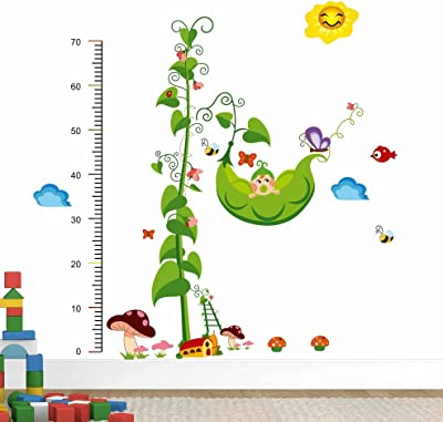 Decals Design 'Baby Kid on Green Peas Tree House with Height Scale' Wall Sticker (PVC Vinyl, 50 cm x 70 cm x 1 cm), Multicolour