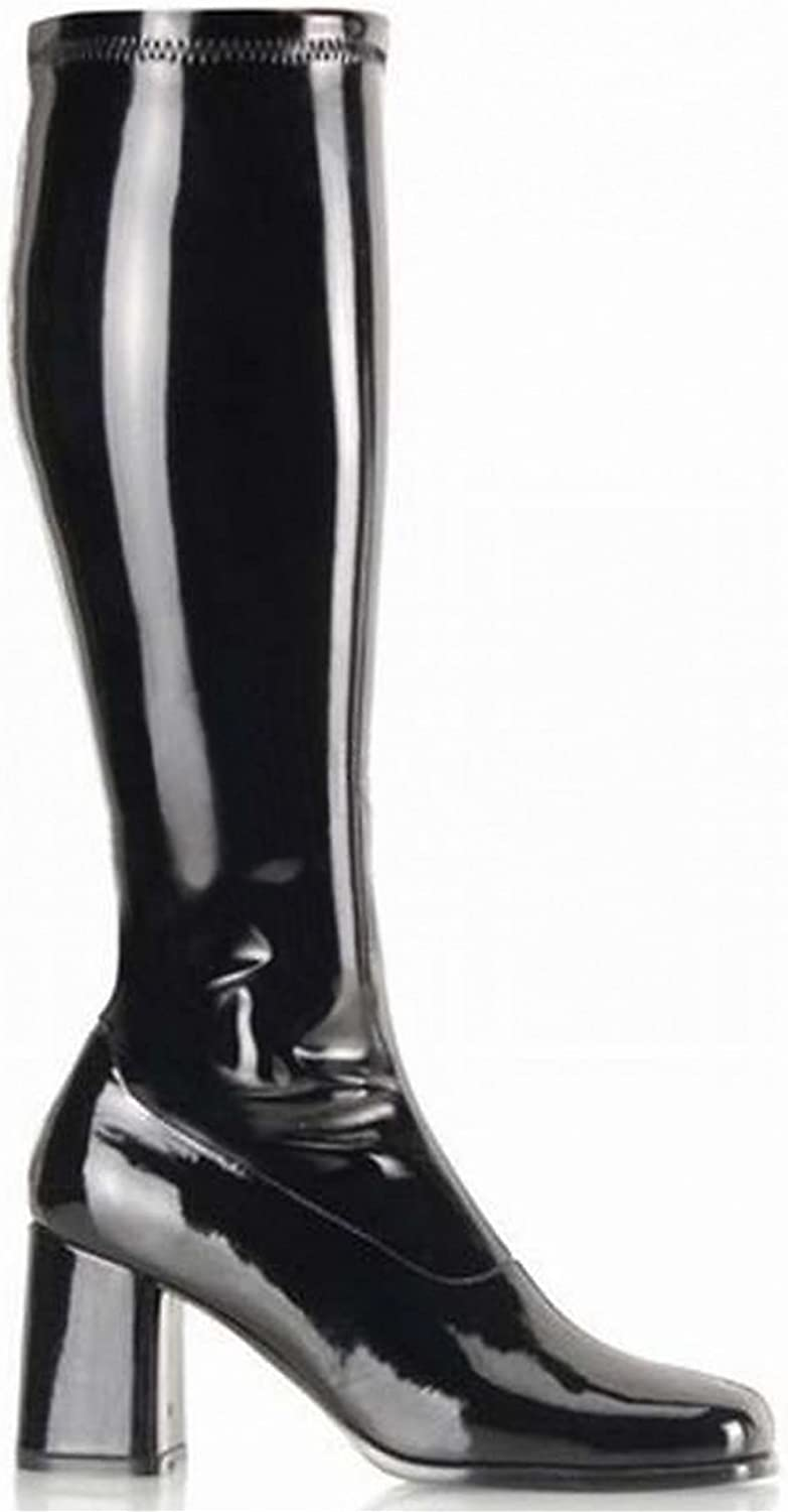 Pleaser GOGO-300 3  Knee Boot, Black Stretch Patent-Size 8