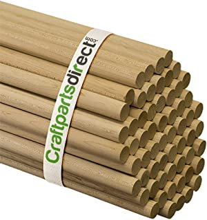 5/8 Inch x 48 Inch Wooden Dowel Rods - Unfinished Hardwood Dowels For Crafts & Woodworking - By Craftparts Direct - Bag of 5
