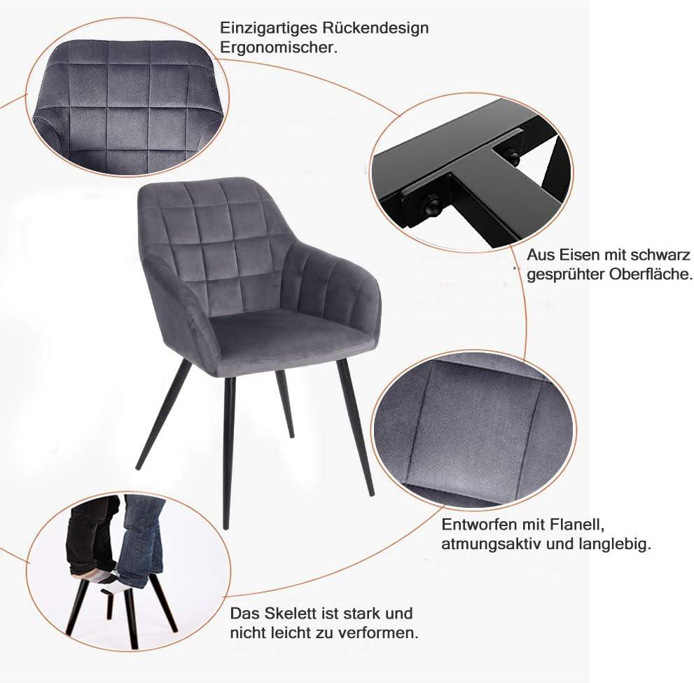 Aufun Esszimmerstuhl 4 Stück Wohnzimmerstuhl aus Samt, Metallbeine, Ergonomisch Küchenstuhl Polsterstuhl Sessel Sitzfläche, ZE2020-2, Dunkelgrau Typ A, 4 Stück