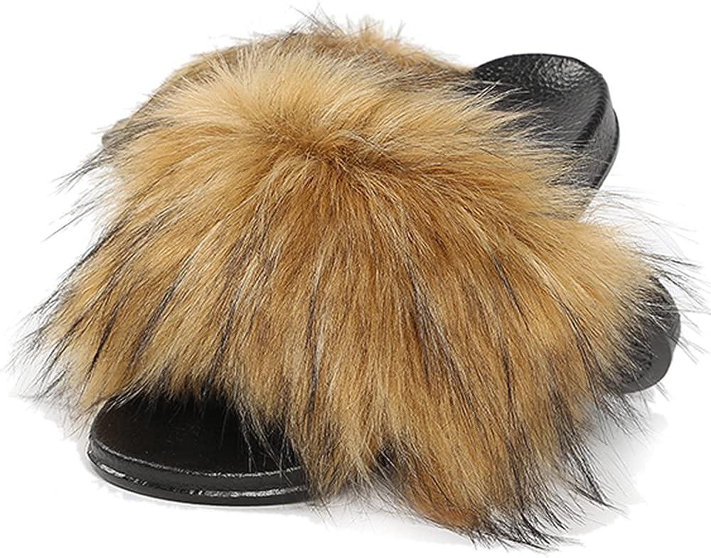 Women's Fur Slides Furry Sliders Fl Lowest price safety challenge Fashion Fluffy Slippers Soft