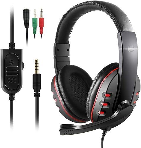 Diswoe PS4 Cuffie da Gioco con cancellazione del Rumore, Cavo da 3,5 mm, Suono Surround, Driver da 40 mm e Microfono,...