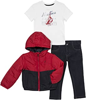 Nautica Boys' Color Block Puffer Jacket, Tee and Denim Pant Set