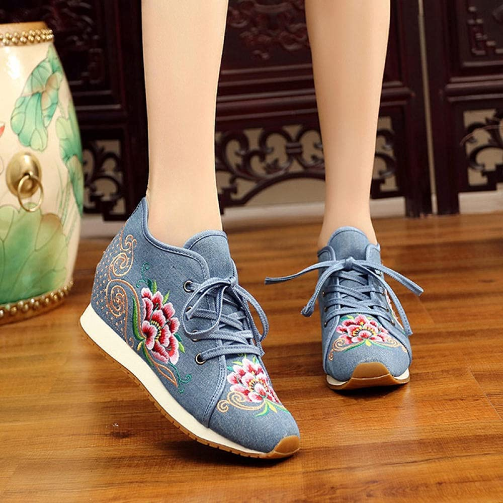 FHSMRING Women Casual Mail order cheap Canvas Max 49% OFF Embroidered Sneakers U Top Mid Lace