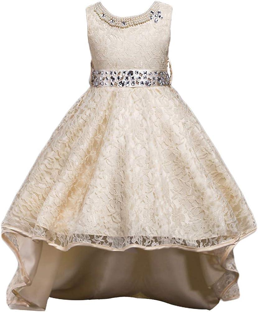 HUAANIUE Girls Wedding Pageant Dress Hi-Low Lace Flower Girl Bridesmaid Dresses