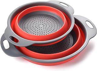 Enko® Vergiet Set, Keuken Opvouwbaar Siliconen Filter, Milieuvriendelijk Niet-giftig Makkelijk schoon te maken, 2 Maten In...