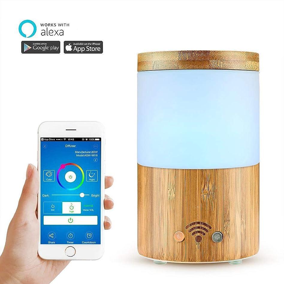 パートナーなだめるサーバWifiワイヤレスアロマエッセンシャルオイルディフューザー、電話アプリ、音声コントロール-スケジュールの作成-160mlディフューザーと加湿器-LEDとタイマーの設定