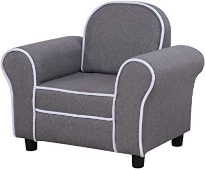 Kid Sofa Chair, Children Upholstered Chair and Baby Sofa with Linen Fabric for Kid Gift. (Grey)