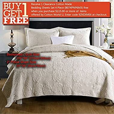 Quilt Set King, Cotton World Li Premium 3 Piece Oversized Coverlet Set as Bedspread Bed Cover Reversible Luxury Light Weight 106  x 98 / Pillow Shams 20  x 36 - Wrinkle & Fade Resistant-King/CA King
