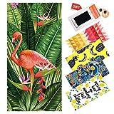 WLZP Toalla de Playa, 100% algodón Absorbente Manta de Playa - 75 x 150CM, Compacto, Resistente a la Arena. La Mejor Toalla Ligera para Nadar, Deportes, Viajes, Playa e- Regalos Funda Impermeable