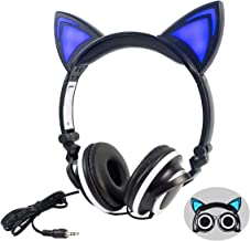 Cat Ear Headphones, Over Ear Wired Kids Earphone with Foldable LED Light Flashing Compatible for iPad,Tablet,Computer,iPhone,Android Mobile Phone (Black-White)