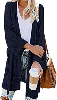 Women's Loose Knitted Cardigan Solid Open Long Sleeve Casual Outerwear Sweater DongDong