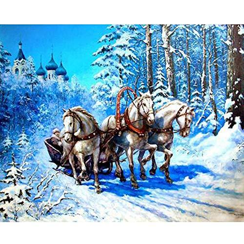 Diopn 5D diamant schilderij DIY diamant borduurwerk winter kruis steek kristal drie paard in sneeuw landschap diamant mozaïek (Rond diamant 30 * 40) 30 * 40