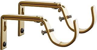 Meriville Set of 2 Gold Curtain Drapery Rod Bracket for 1 1/4-Inch Rod, Adjustable