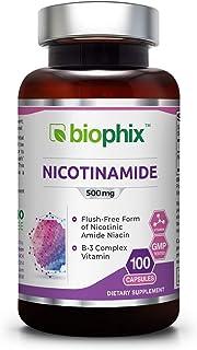 B3 Nicotinamide 500 mg 100 Capsules - Natural Flush-Free Vitamin Formula | Gluten-Free Nicotinic Amide Niacin | Skin Healt...
