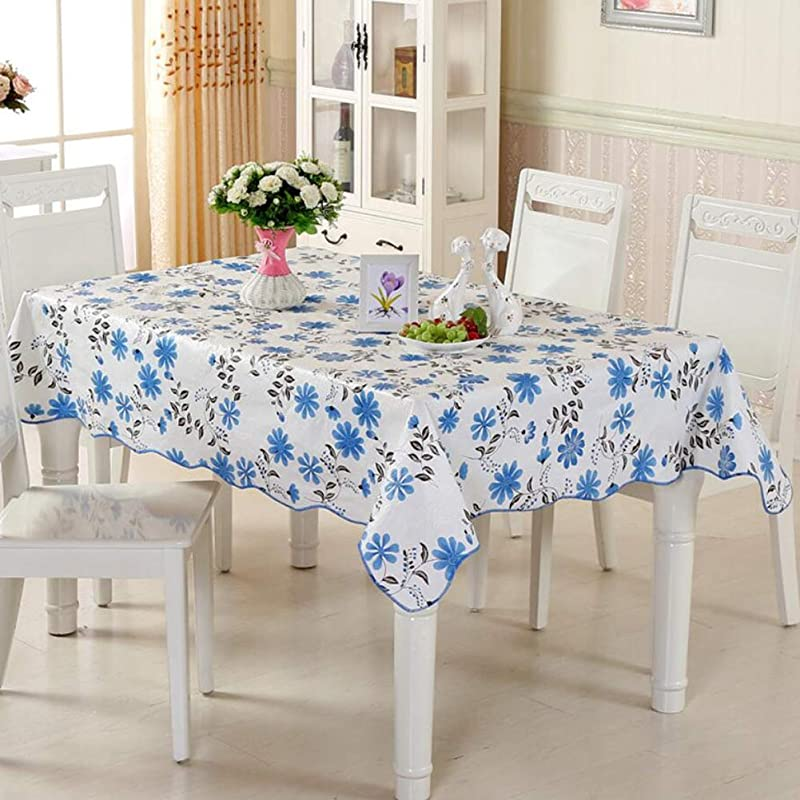 YEARLY Waterproof Plastic Table Cloth PVC Round Rectangle Table Cover Oil Proof No Wash Wavy Edge Household Tabletop Decoration Tablecloth Blue 106x152cm 42x60inch