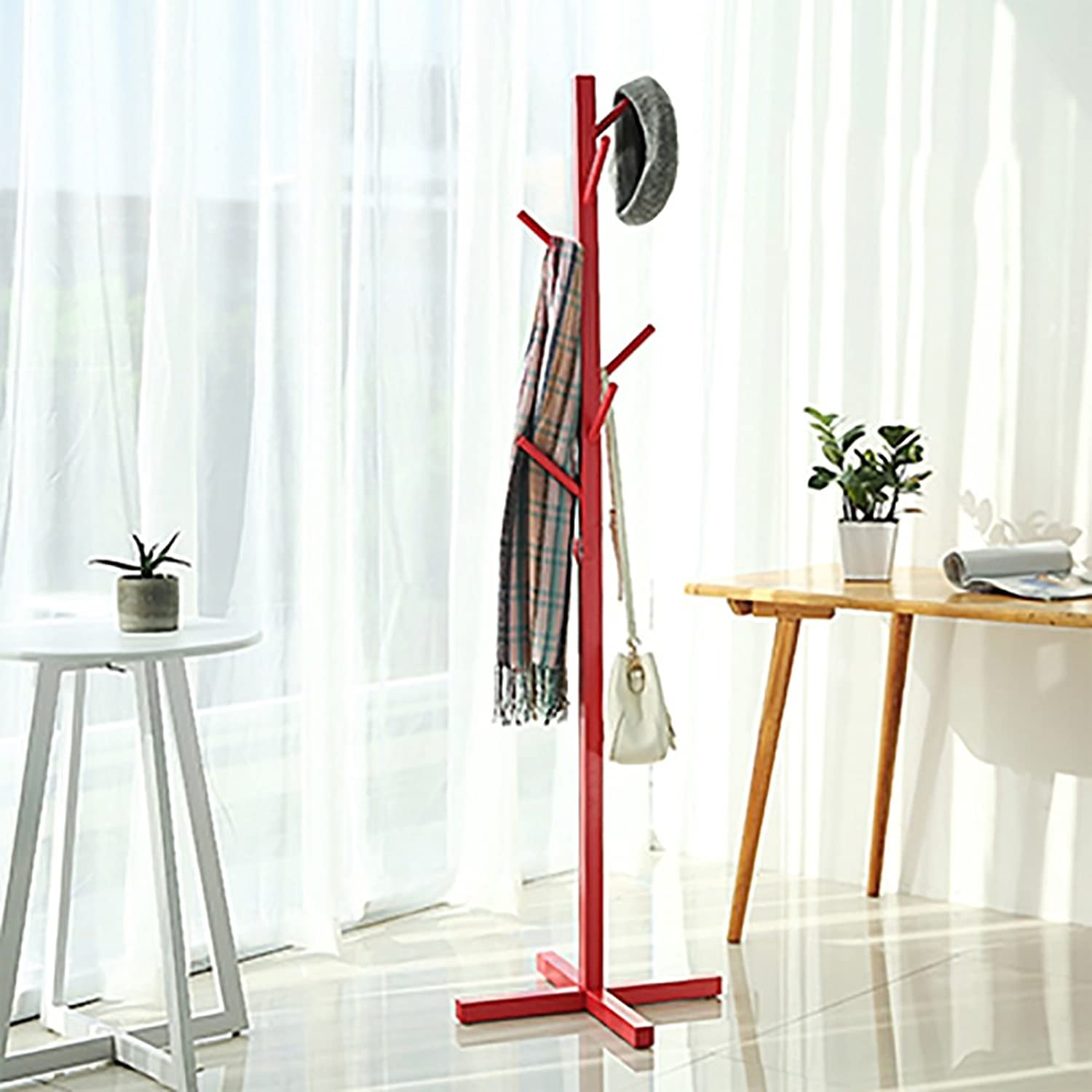LFF- Simple Solid Wood Floor Coat Rack 50×50×165cm Living Room Bedroom Upright Hanger Storage Rack Hanger (color   Watermelon red)