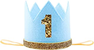 Floral Fall Baby Girl and Boy 1st Birthday Hat Photo Prop Sparkly Gold Crown Elastic Headbands HG-05