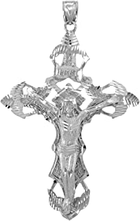 18 LavaFashion Sterling Silver Antiqued Mariner Crucifix Charm Necklace
