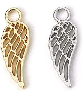 Angel Wings Charms by JGFinds, 40 Pack (20 of Each), Gold and Silver Tone 3/4 inch