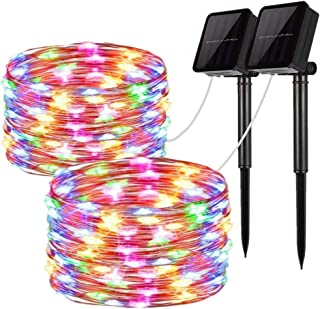 Solar String Lights, 2 Pack 100 LED Solar Fairy Lights 33 feet 8 Modes Copper Wire Lights Waterproof Outdoor String Lights for Garden Patio Gate Yard Party Wedding Indoor Bedroom Multicolor
