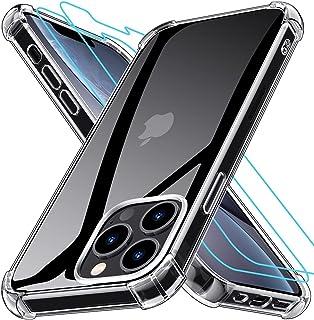 Grebuy Coque Compatible avec iPhone 13 Pro avec 2 Protecteur D'écran en Verre Trempé, Housse de Protection Antichoc Compat...
