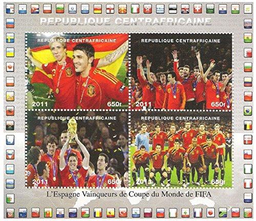 Souvenir foglio di francobolli della Coppa dei Campioni del Mondo 2011 / Repubblica Centrafricana / 2011
