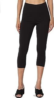 Basic Cotton Jersey Elastic High Waist Mid Calf Length Capri Leggings