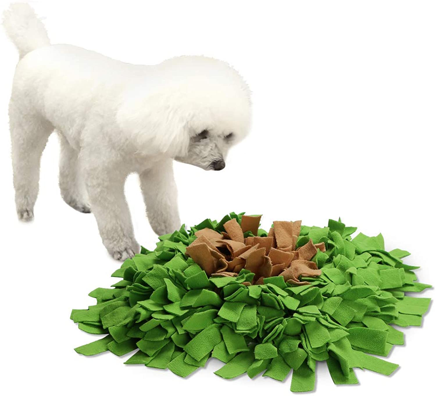 Pidsen Dog Snuffle Mat Feeding Mat Training Mat Nosework Blanket Pet Play Toy Encourages Natural Foraging Skills Perfect for Any Breed(17  17 )(Green&Coffee)
