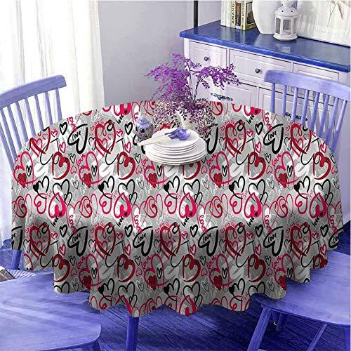 Mantel redondo con diseño de corazones y palabras de amor, diseño de San Valentín, diseño sin costuras, diámetro de 55 pulgadas, multicolor