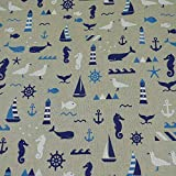 Dekostoff Emil von Swafing, maritim, blau/beige (25cm x