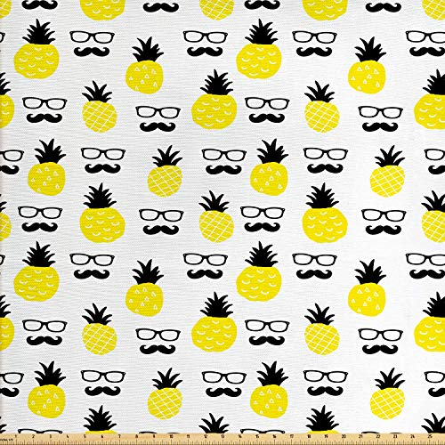 Ambesonne Yellow Fabric by The Yard, Repeated Motifs of Exotic Pineapples Mustache and Eyeglasses Print, Decorative Fabric for Upholstery and Home Accents, 1 Yard, Yellow Charcoal
