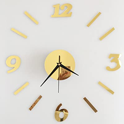 Drelaclock Lovely 3D DIY Digital Wall Clock Sticker Mirror Wall Watch Surface Living Room Decor Reloj