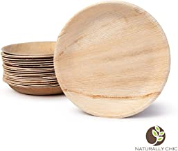 """Naturally Chic Compostable Biodegradable Disposable Plates - Palm Leaf 10"""" Round, Deep Small Dinnerware Set - Eco Friendly Alternative - Party, Wedding, Event Plates (25 Pack)"""