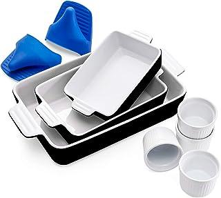 Vexilsy Baking Dish Set, Ceramic Bakeware Set Includes 3 Rectangular Nonstick Casserole Dish, 4 Ramekins, Silicone Mini Ov...
