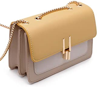Color-Block Crossbody Bags for Women Leather Cross Body Purses Cute Designer Handbags Shoulder Bag Medium Size